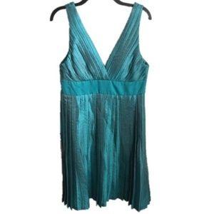 MAX & CLEO teal shimmer empire waist dress 12